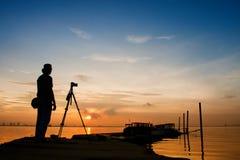 Fotograaf Silhouette Royalty-vrije Stock Afbeeldingen