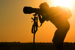 Fotograaf Silhouette Royalty-vrije Stock Foto