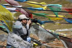 Fotograaf in Tibet Royalty-vrije Stock Foto