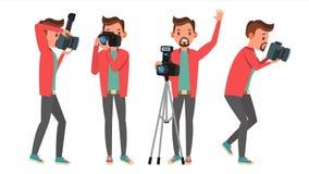 Fotograaf Vector Moderne camera posing Volledige Lengte die Foto's nemen Photojournalistontwerp Vlakke beeldverhaalillustratie vector illustratie