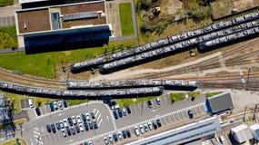 Fotografía aérea de trenes en la estación de Nantes Blottereau foto de archivo libre de regalías