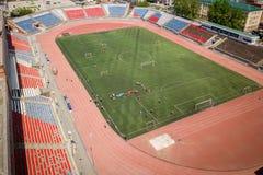 Fotografía aérea de un estadio moderno imagen de archivo
