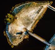Fotografía aérea en parte de una isla Nevado en invierno Foto de archivo libre de regalías