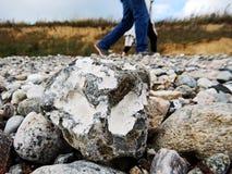 Fotografía abstracta de una cara de piedra en la playa Imágenes de archivo libres de regalías