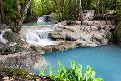 Fotografía al aire libre de Tailandia de la cascada en bosque de la selva de la lluvia imagenes de archivo