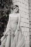 Fotografía blanco y negro de la moda de la muchacha hermosa en vestido Imagen de archivo libre de regalías