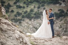 Fotografía de la boda de un par joven, de la novia y del novio en un área montañosa en verano Foto de archivo libre de regalías