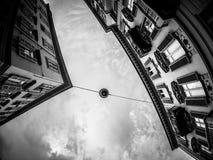 Fotografía de la calle de Turín Italia en blanco y negro Fotos de archivo libres de regalías