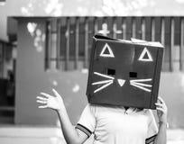 Fotografía de la máscara del cartón del gato negro Imagen de archivo