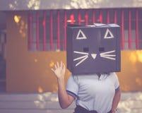 Fotografía de la máscara del cartón del gato negro Foto de archivo