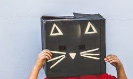 Fotografía de la máscara del cartón del gato negro Imágenes de archivo libres de regalías