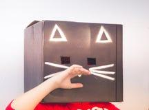 Fotografía de la máscara del cartón del gato negro Imagen de archivo libre de regalías
