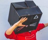 Fotografía de la máscara del cartón del gato negro Imagenes de archivo