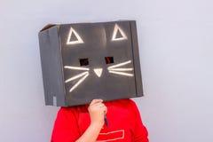Fotografía de la máscara del cartón del gato negro Fotografía de archivo