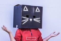 Fotografía de la máscara del cartón del gato negro Foto de archivo libre de regalías