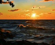 Fotografía de la salida del sol del lago Michigan Imagen de archivo libre de regalías