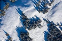 Fotografía del abejón de la snowboard y de las pistas del esquí dejadas en el alto de la nieve en montañas fotos de archivo