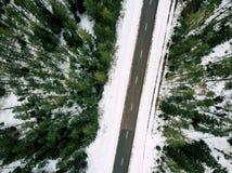 Fotografía del abejón de un camino entre el bosque en invierno Foto de archivo libre de regalías