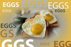 Fotografía del bocadillo de los huevos de la forma del corazón imágenes de archivo libres de regalías