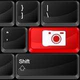 Fotografía del botón del ordenador Imagenes de archivo