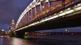Fotografía del lapso de tiempo del puente de St Petersburg Bolsheokhtinsky almacen de video