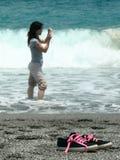 Fotografía en la playa Imagenes de archivo