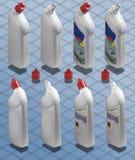 Fotografía isométrica - botella de producto de limpieza de discos detergente Fotografía de archivo libre de regalías