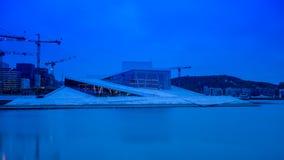 Fotografía larga de la exposición del edificio del teatro de la ópera de Oslo fotografía de archivo