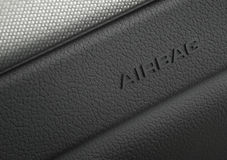 Fotografía macra de un sistema de seguridad del saco hinchable del coche Foto de archivo libre de regalías