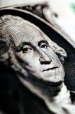 Fotografía macra un cierre para arriba, detalle de 1 billete de dólar Imagen de archivo