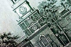 Fotografía macra un cierre para arriba, detalle del billete de dólar 100 Imagen de archivo libre de regalías