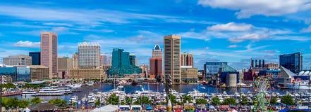 Fotografía panorámica de Baltimore de la colina federal imágenes de archivo libres de regalías