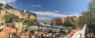 Fotografía panorámica del puerto Fontvielle, Mónaco Imagenes de archivo