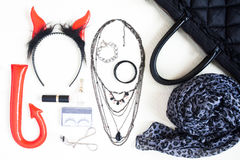 Fotografía plana con los complementos de Halloween, cosmeti de la endecha Foto de archivo