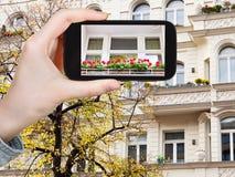 Fotografías turísticas de la fachada de la casa en Berlín Foto de archivo libre de regalías