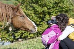 Fotografíe a la mujer que tira un caballo salvaje rojo hermoso Imágenes de archivo libres de regalías
