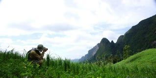 Fotograf auf der Naturlandschaft Lizenzfreies Stockfoto