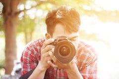 Fotograf With Cameras Royaltyfri Fotografi
