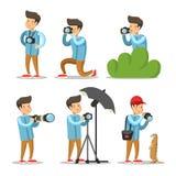 Fotograf Cartoon Character Set vektor illustrationer