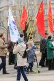 Fotograf an der Demonstration Stockbild