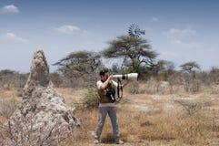 Fotograf in der Savanne - Profil Stockfotos