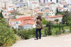 Fotograf an der Spitze Athens Stockfoto