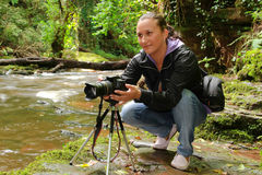 Fotograf in der Tätigkeit Stockfotografie