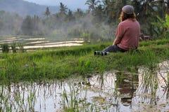 Fotograf des jungen Mannes, der auf den Gebieten eines Reises während des Sonnenuntergangs sitzt stockfoto