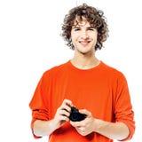 Fotograf des jungen Mannes, der Kameraporträt hält Lizenzfreie Stockfotos