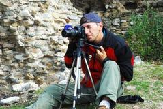 Fotograf draußen Lizenzfreies Stockbild