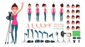 Fotograf Female Vector Livlig kvinnaskapelseuppsättning Full längd, framdel, sida, baksidasikt Isolerad plan tecknad film vektor illustrationer