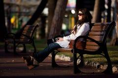 Fotograf im Park Stockbild