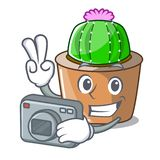 Fotograf kreskówki gwiazdy kaktus w kwiatu garnku ilustracji