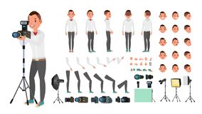 Fotograf Male Vector Livlig manskapelseuppsättning Full längd, framdel, sida, baksidasikt Isolerad plan tecknad film royaltyfri illustrationer